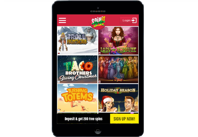 SpinIt Casino on Tablets