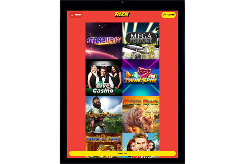 Rizk Casino on Tablets